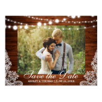 Rustic Wedding Wood Lights Lace Save the Date Postcard