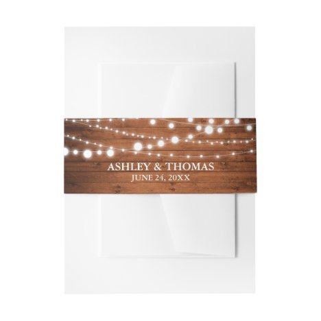 Rustic Wedding Wood String Lights Invitation Belly Band