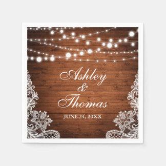 Rustic Wedding Wood String Lights Lace Napkin