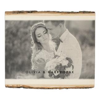 Rustic Wedding Wooden Photo Panel - Black Text