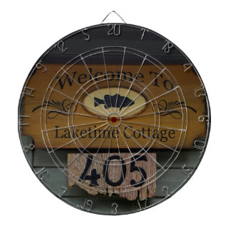 Rustic Welcome to Cottage With Fish Sign Dart Board
