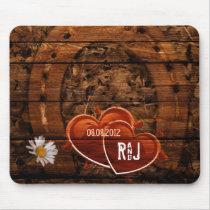 Rustic Western Barn Wood Horseshoe Wedding Mouse Pad
