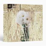 rustic western barn wood mason jar white daisy vinyl binder