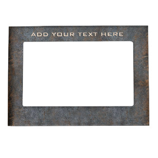 Rustic Western Brown Leather Look Texture Old Worn Magnetic Photo Frames