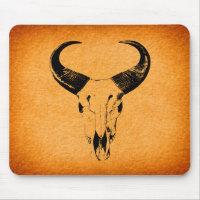 Rustic Western Bull Skull Mousepad
