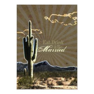 Rustic western cactus wedding Rehearsal Dinner Card