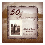 Rustic Western Country 50th Anniversary Party Card