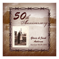 Rustic Western Country 50th Anniversary Party Personalized Announcements