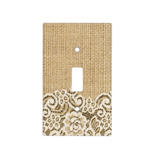 Rustic Western Country Burlap And Lace Light Switch Cover