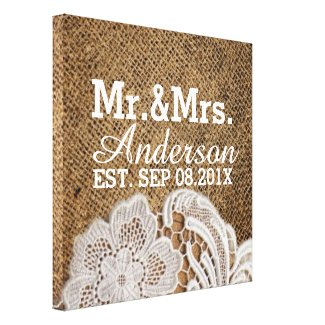 rustic western country burlap lace mr and mrs stretched canvas print
