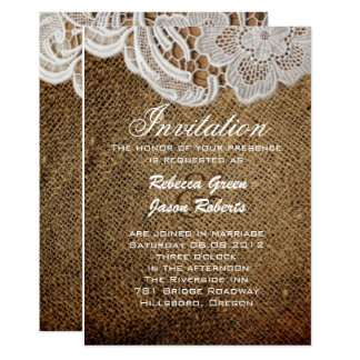 rustic western country burlap lace wedding invite