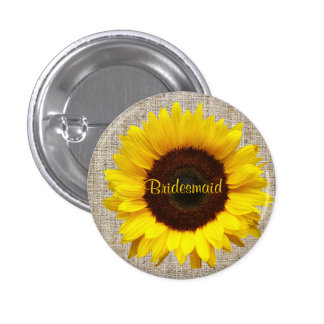 Rustic Western Country Burlap Sunflower bridesmaid Pinback Button