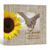 Rustic Western Country Burlap Sunflower Wedding 3 Ring Binder