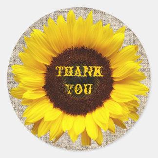 Rustic Western Country Burlap Sunflower Wedding Classic Round Sticker