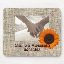 Rustic Western Country Burlap Sunflower Wedding Mouse Pad