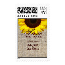 Rustic Western Country Burlap Sunflower Wedding Postage