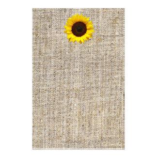 Rustic Western Country Burlap Sunflower Wedding Stationery