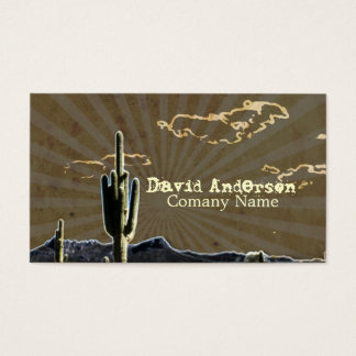Rustic western country cactus wedding business card