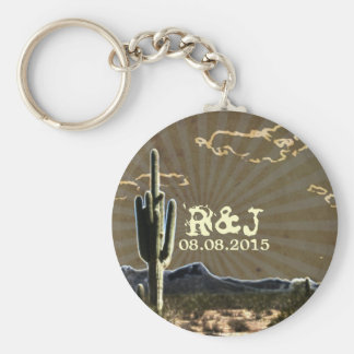 Rustic western country cactus wedding favor keychain