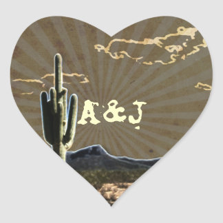 Rustic western country cactus wedding heart sticker