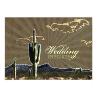 Rustic western country cactus wedding invitation