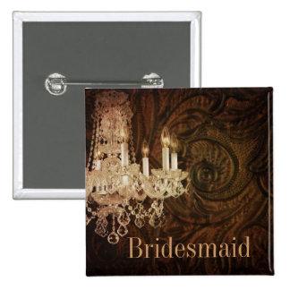 rustic western country chandelier bridesmaid pinback button