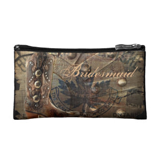 rustic western country cowboy boots bridesmaid cosmetic bag