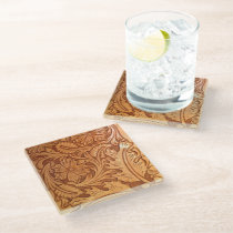 rustic western country cowboy tooled leather glass coaster