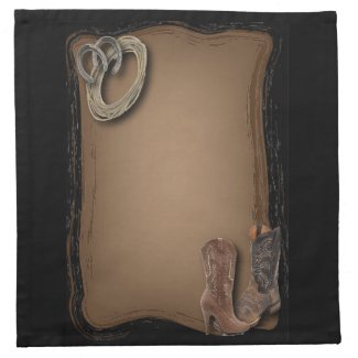 rustic western country cowboy wedding cloth napkin