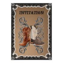 Rustic western country cowboy wedding invitation