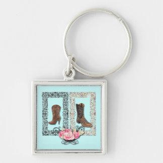 Rustic western country cowboy wedding keychain