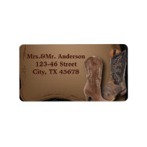 rustic western country cowboy wedding label