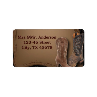 rustic western country cowboy wedding label