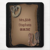 rustic western country cowboy wedding mouse pad