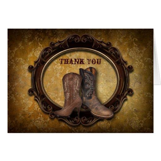 rustic western country cowboy wedding thank you card | Zazzle
