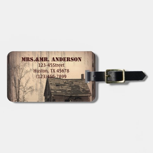rustic western country farm barn wedding bag tag