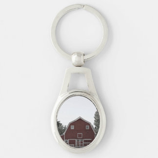 rustic western country farm landscape red barn Silver-Colored oval metal keychain