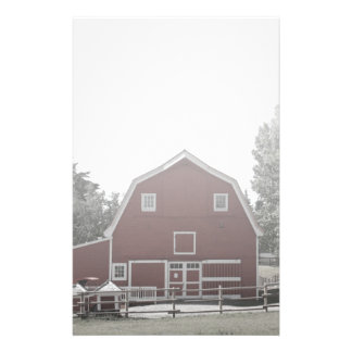 rustic western country farm landscape red barn personalized stationery