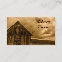 rustic western country farm old barn wedding business card