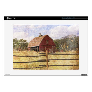 "Rustic Western Country Farm Primitive Red Barn Decals For 15"" Laptops"