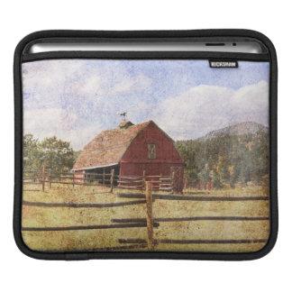 Rustic Western Country Farm Primitive Red Barn iPad Sleeve