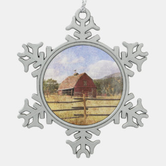 Rustic Western Country Farm Primitive Red Barn Snowflake Pewter Christmas Ornament
