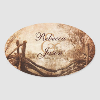 rustic western country farm wedding oval sticker