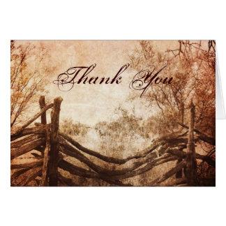 rustic western country farm wedding thank you card