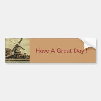 Rustic western country farmhouse antique windmill bumper sticker