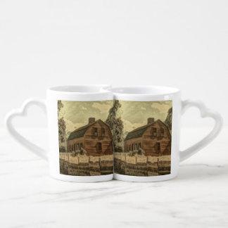 Rustic Western Country Farmhouse Chic Red Barn Coffee Mug Set