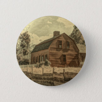 Rustic Western Country Farmhouse Chic Red Barn Pinback Button