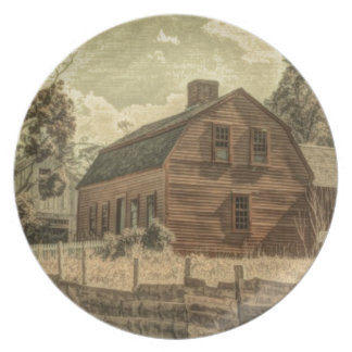 Rustic Western Country Farmhouse Chic Red Barn Plate