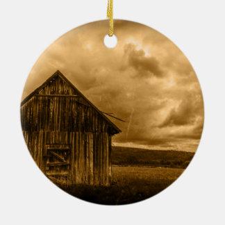 rustic western country farmhouse old barn ceramic ornament