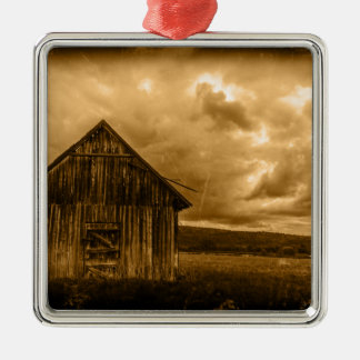 rustic western country farmhouse old barn metal ornament